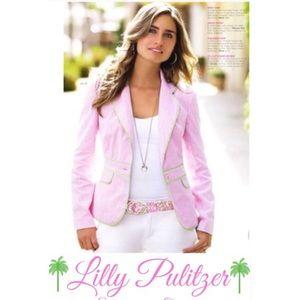 Lilly Pulitzer Seersucker Blazer Jacket 12 Pink